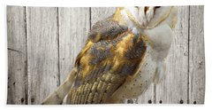 Barn Owl Bath Towel by Kathy M Krause