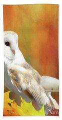 Barn Owl Bath Towel by Suzanne Handel