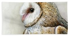 Barn Owl Watercolor Bath Towel