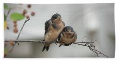 Barn Swallow Fledglings Bath Towel