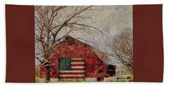 Barn With Flag In Winter Hand Towel