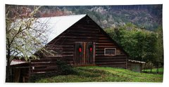 Barn With Red Bows Bath Towel by Katie Wing Vigil