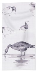 Barnacle And White Fronted Geese Hand Towel by Archibald Thorburn