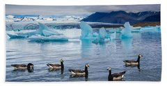 Barnacle Geese In Glacier Lagoon In Iceland Hand Towel by Matthias Hauser