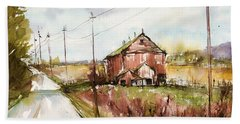 Barns And Electric Poles, Sunday Drive Bath Towel by Judith Levins