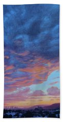 Hand Towel featuring the painting Barnsdall Hill by Andrew Danielsen