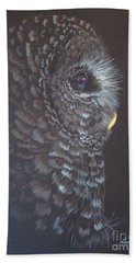 Hand Towel featuring the drawing Barred Owl 2 by Laurianna Taylor