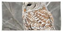 Barred Owl Close-up Bath Towel
