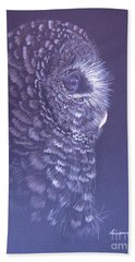 Hand Towel featuring the drawing Barred Owl by Laurianna Taylor