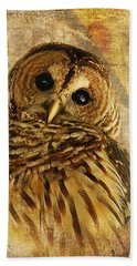 Hand Towel featuring the photograph Barred Owl by Lois Bryan