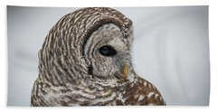 Bath Towel featuring the photograph Barred Owl Portrait by Paul Freidlund