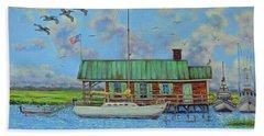 Barriar Island Boathouse Hand Towel by Dwain Ray
