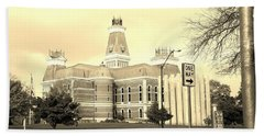 Bartholomew County Courthouse Columbus Indiana - Sepia Hand Towel by Scott D Van Osdol