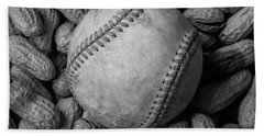 Bath Towel featuring the photograph Baseball And Peanuts Black And White Square  by Terry DeLuco