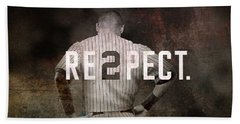 Baseball - Derek Jeter Bath Towel by Joann Vitali