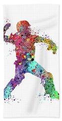 Baseball Softball Catcher 3 Watercolor Print Hand Towel by Svetla Tancheva