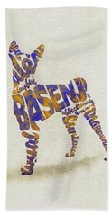 Hand Towel featuring the painting Basenji Dog Watercolor Painting / Typographic Art by Inspirowl Design