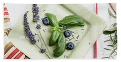 Bath Towel featuring the photograph Basil Still Life 2 by Rebecca Cozart