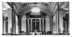 Bath Towel featuring the photograph Basilica Of Saint Louis King - Black And White by Nikolyn McDonald