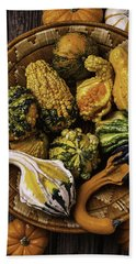 Basket Full Of Autumn Gourds Bath Towel