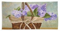 Basket Of Lilacs Bath Towel