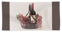 Basket Of Wine And Grapes Hand Towel