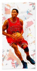 Bath Towel featuring the painting Basketball 33 by Movie Poster Prints