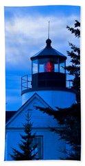 Bass Harbor Lighthouse Blue Hand Towel
