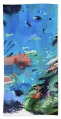 Hand Towel featuring the painting Bass Pro Outdoor World by Ed Heaton