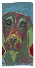 Bath Towel featuring the painting Basset Hound Abstract by Ania M Milo