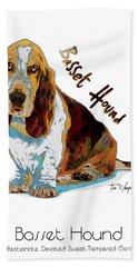 Basset Hound Pop Art Bath Towel