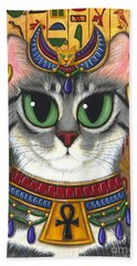 Bath Towel featuring the painting Bast Goddess - Egyptian Bastet by Carrie Hawks