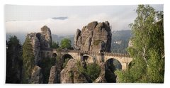 Bastei Bridge In Saxon Switzerland Hand Towel
