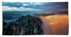 Bastei Bridge Night View, Saxon Switzerland, Germany Bath Towel