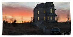 Bates Motel At Night Hand Towel by Jim  Hatch