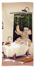 Hand Towel featuring the digital art Bath Time by Methune Hively