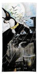 Batman Boston Terrier Caricature Art Print Hand Towel