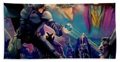 Hand Towel featuring the painting Batman by Paul Weerasekera