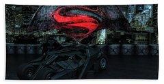Batman Versus Superman Bath Towel by Louis Ferreira