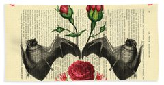 Bats With Angelic Roses Bath Towel