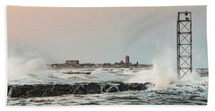 Battering The Shark River Inlet Hand Towel by Gary Slawsky