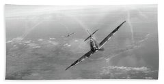 Hand Towel featuring the photograph Battle Of Britain Spitfires Over Kent by Gary Eason