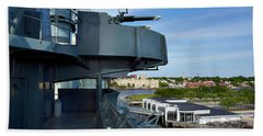 Battleship View Of Wilmington Nc Hand Towel by Denis Lemay