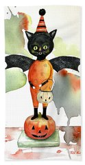 Batty Vintage Cat  Hand Towel