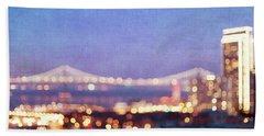 Bay Bridge Glow - San Francisco, California Hand Towel