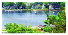 Hand Towel featuring the painting Bay Harbor by Desiree Paquette