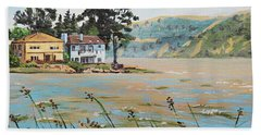 Bay Scenery With Houses Hand Towel