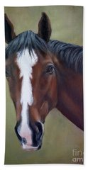 Bay Thoroughbred Horse Portrait Ottb Hand Towel