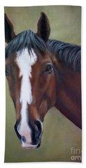 Bay Thoroughbred Horse Portrait Ottb Bath Towel