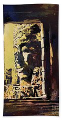 Hand Towel featuring the painting Bayon IIi- Cambodian Ruins, Angkor Wat by Ryan Fox